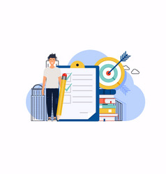 man with pencil marked checklist on a clipboard vector image