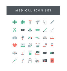 Medical dental icon set with colorful modern flat vector