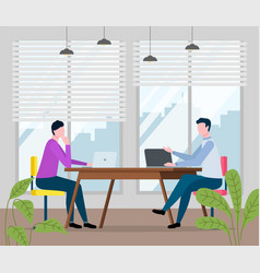 men sit at table in office male vector image