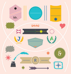 Modern colorful and cute empty emblems set vector