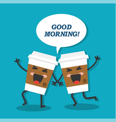morning begins with coffee vector image