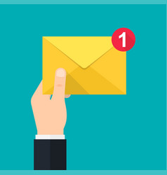 new incoming message hand holds envelope vector image