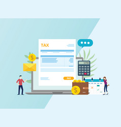 online tax invoice payment with paper document vector image