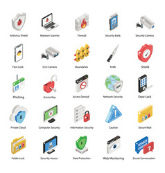 Pack security isometric icons vector