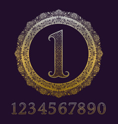 patterned golden numbers with vintage medal vector image