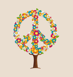 Peace sign tree made of spring flowers vector