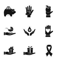 Philanthropy icons set simple style vector image