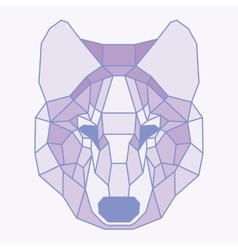 Pink lined low poly wolf vector