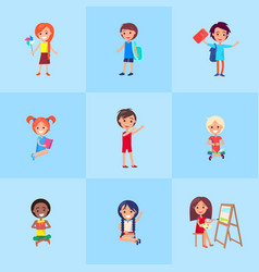 playful children showing emotions poster vector image