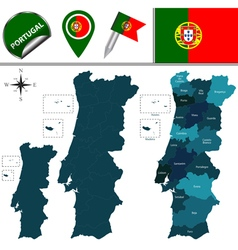 Portugal map with named divisions vector image