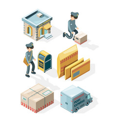 Postal service cargo delivery office postcards vector