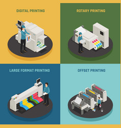 Printing house 4 isometric icons vector