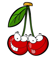 Red Cherry Mascot Cartoon Character vector image