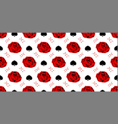 Red rose playing cards wonderland seamless vector