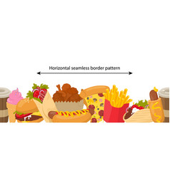 seamless border pattern with fast food vector image