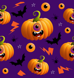 seamless pattern with hand drawn doodle halloweens vector image