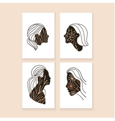 set four abstract minimalistic aesthetic a4 vector image
