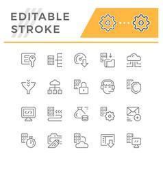 set line icons hosting vector image
