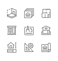 Set line icons of architectural vector