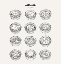 set of dim-sum hand draw sketch vector image