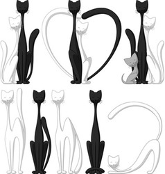 Set of Funny Cats vector