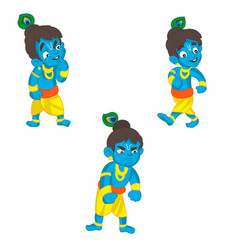 set of little krishna cartoon on a vector image