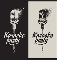 Set of two banners karaoke party with a microphone vector