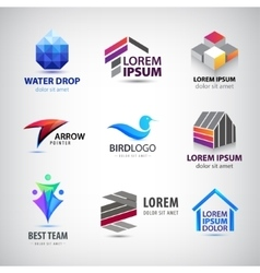 Set of various logos Bird house team vector