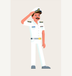 Ship captain military character saluting on white vector