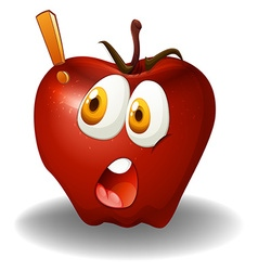 Shocking face on apple vector