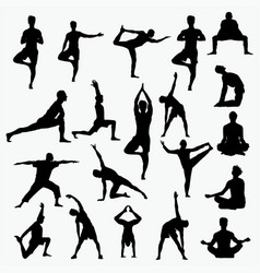 silhouettes of man yoga vector image