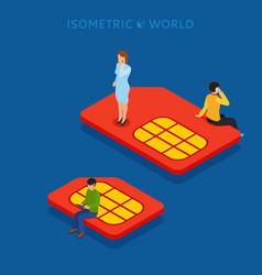 sim card flat isometric concept web vector image