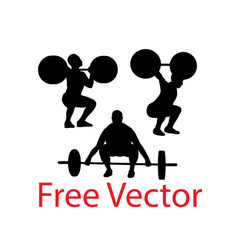 Sport silhouette weightlifting and bodybuilding vector