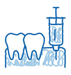 Stomatology anesthesia injection doodle icon hand vector