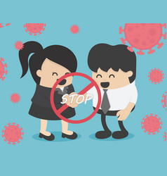 Stop shaking hands social distance concept stop vector
