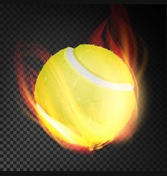 tennis ball realistic yellow tennis ball vector image