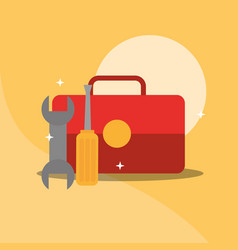 toolbox wrench screwdriver repair equipment vector image