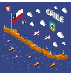 Touristic Attractions Symbols Isometric Chile Map vector