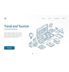 Travel tourism business modern isometric line vector