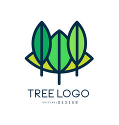 tree logo original design eco bio badge abstract vector image