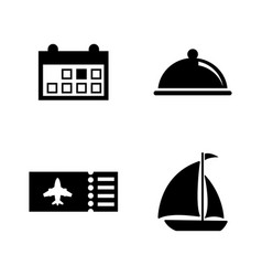 Vacation travel trip simple related icons vector