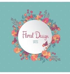 Vintage circle floral frame vector image
