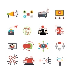 Viral marketing technique flat icons set vector