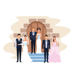 Wedding couples in the door chapel vector
