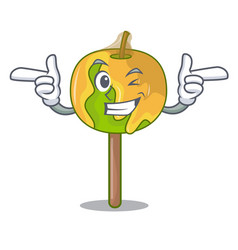 Wink candy apple character cartoon vector