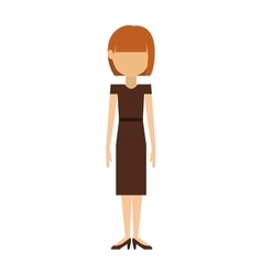 Woman with dress and short hair redhead vector