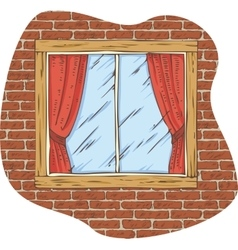 Wooden Window with Red Curtain on a Brick Wall vector