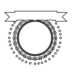 black silhouette of round stamp with ribbon in top vector image vector image