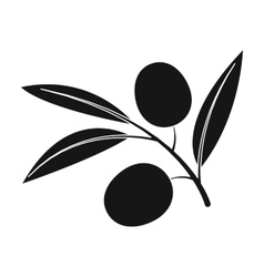 Branch of olives icon in black style isolated on vector image