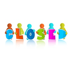 Closed Title with Colorful Paper Cut People vector image vector image